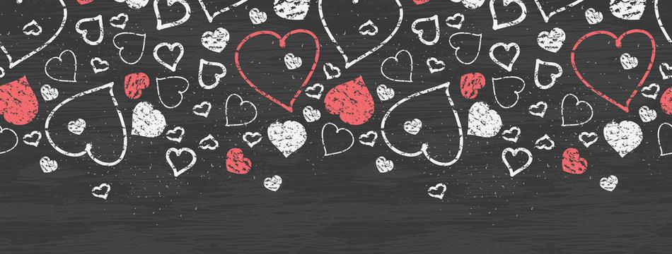 Vector chalkboard art hearts horizontal border seamless pattern