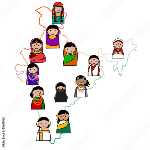 "Crowd Of Indian Women Vector Avatars Stock Vector: ""Big Crowd Of Indian Women Vector Avatars In Shape Of"