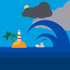Sea waves, vector illustration