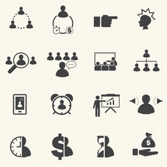 Time management relate The Leadership concept. icons set