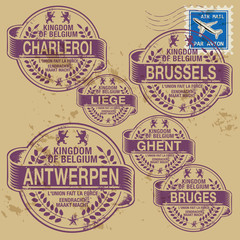 Grunge rubber stamp set with names of Belgium cities