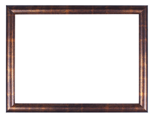 Wooden bronze frame on white background with clipping path