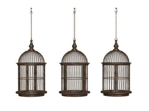 wooden ancient bird cage