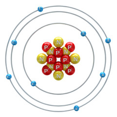 Oxygen atom on a white background