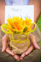 yellow flowers in hand for father's day