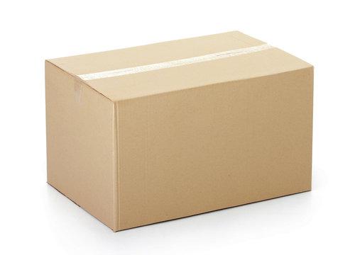 Closed cardboard box taped up