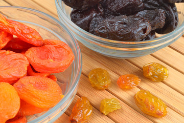 dried apricots, raisins, prunes