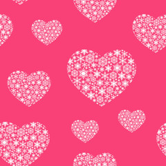 Beautiful Valentine's Day background with snowflakes hearts