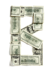 Dollar letter B made from real money