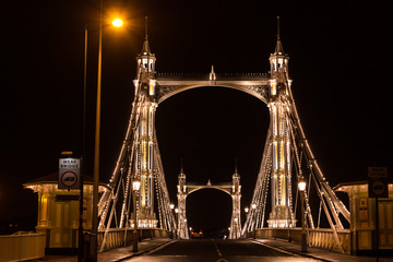 Albert's bridge at night, London