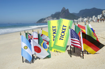 Brazil Tickets World Flags on the Beach Rio