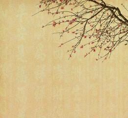 Spring plum blossom blossom on Old antique vintage paper backgro