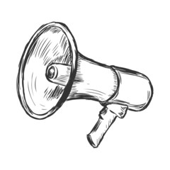 vector sketch illustration - bullhorn