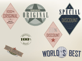 Set of Quality and Discount labels
