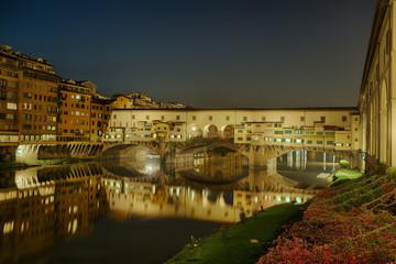 Fototapete - Ponte Vecchio Florenz Italien beleuchtet