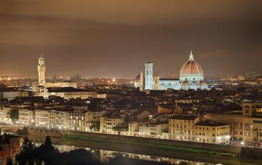 Fototapete - Palazzio Vecchio Dom Nacht Florenz Italien