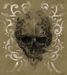 Tattoo skull over vintage paper, white tribals design