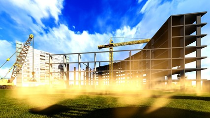 Construction site - abstract colorful illustration