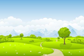 Wall Mural - Sommerlandschaft mit Baum