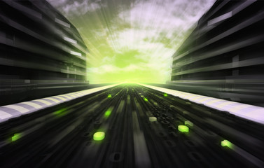 futuristic city street with binary data on the road wallpaper