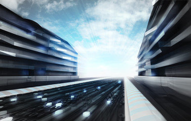 futuristic city street in information age wallpaper