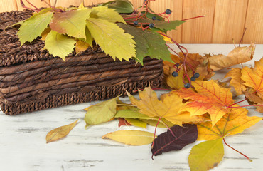 Beautiful autumn leaves with basket