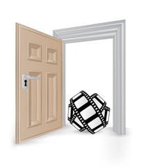 open isolated doorway frame with movie tape vector