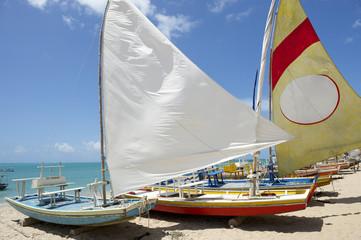 Jangada Traditional Sailboats Brazilian Beach