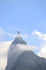 Corcovado Mountain Christ the Redeemer Rio with Clouds