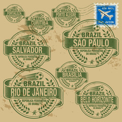 Grunge rubber stamp set with names of Brazil cities