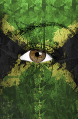 Jamaica flag painted on face