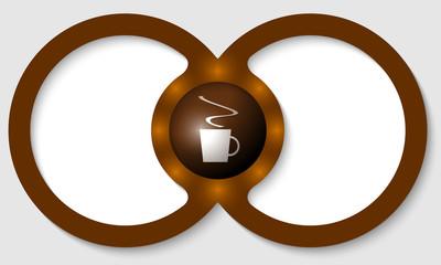 brown text frames for any text with cup of coffee