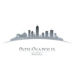 Indianapolis Indiana city skyline silhouette white background