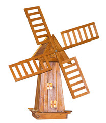 wooden windmill on white background