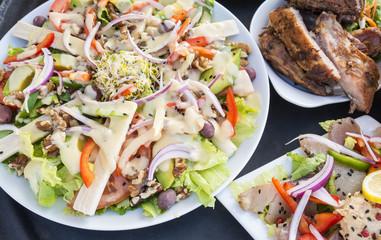 Salad, Barbecued Ribs and Smoked Tuna