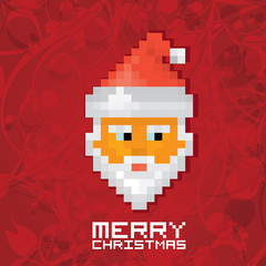 Pixel santa claus with beard and mustache