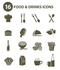 Food and drink icons,Black version