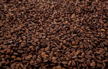 a lot of roasted coffee beans