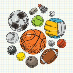 Freehand drawing sport balls