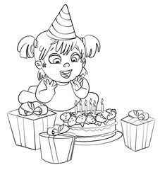 Little girl having fun celebrating her birthday. Coloring book