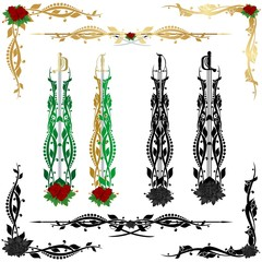 Decorative pattern and weapons