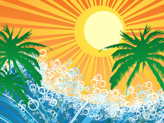 Vector illustration of seaside background