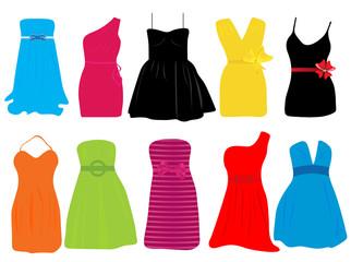 Vector illustration of summer dresses for women