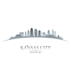 Kansas city Missouri skyline silhouette white background