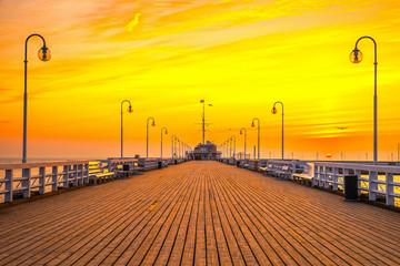 Sunrise at the pier in Sopot, Poland. - fototapety na wymiar
