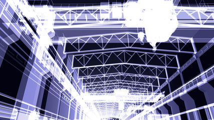 Gantry crane in a factory environment. X-ray