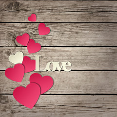 """Holidays card with word """"love"""" and hearts"""