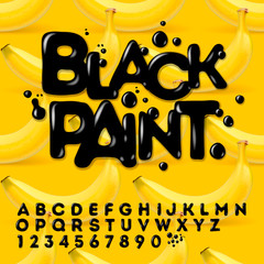 Black oil painted alphabet, vector Eps10 illustration.