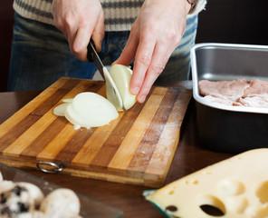 Hands cutting onion