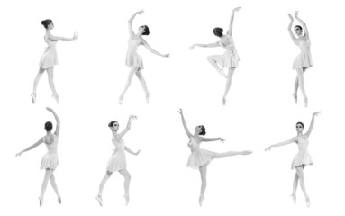 Collection of different ballet poses on a white background